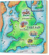 Map Of England Wood Print