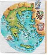 Map Of Greece & Greek Isles Wood Print