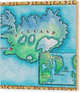Map Of Iceland Wood Print