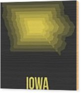 Map Of Iowa Wood Print