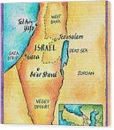Map Of Israel Wood Print