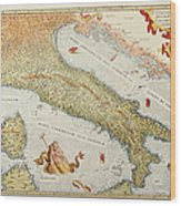 Map Of Italy In 1500 Wood Print
