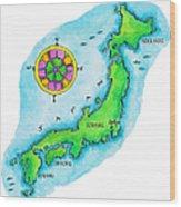 Map Of Japan Wood Print