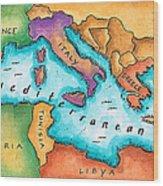 Map Of Mediterranean Sea Wood Print