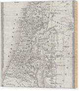 Map Of Palestine, Steel Engraving Wood Print