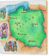 Map Of Poland Wood Print