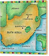 Map Of South Africa Wood Print