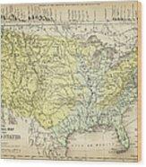 Map Of Usa 1867 Wood Print