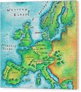 Map Of Western Europe Wood Print