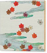 Maple Leaf - Japanese Traditional Pattern Design Wood Print