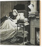 Marcel Proust Sat In Bed Writing Remembrance Of Things Past Wood Print