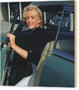 Marilyn Monroe Getting Out Of A Car Wood Print