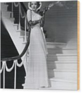 Marlene Dietrich Smoking On Staircase Wood Print