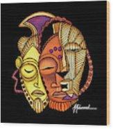 Maruvian Masks 2 Black Wood Print