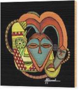 Maruvian Masks 5 Black Wood Print
