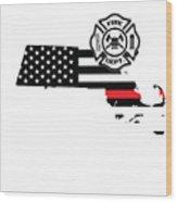 Massachusetts Firefighter Shield Thin Red Line Flag Wood Print