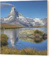 Matterhorn From Lake Stelliesee 07, Switzerland Wood Print