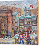Mcgill University Roddick Gates Original Painting For Sale Hoockey Art C Spandau Canadian City Scene Wood Print