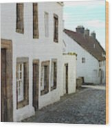 medieval cobbled street in Culross, fife Wood Print