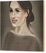 Megan Markle Portrait Painting Wood Print