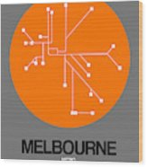Melbourne Orange Subway Map Wood Print