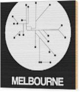 Melbourne White Subway Map Wood Print
