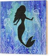 Mermaid Under Water Wood Print