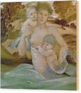 Mermaid With Her Offspring Wood Print