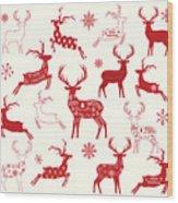Merry Christmas Reindeer,reindeer Wood Print