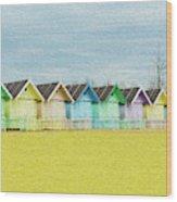 Mersea Island Beach Hut Oil Painting Look 1 Wood Print