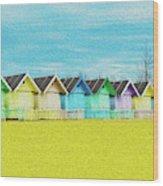 Mersea Island Beach Hut Oil Painting Look 2 Wood Print