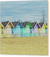 Mersea Island Beach Hut Oil Painting Look 3 Wood Print