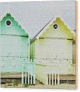 Mersea Island Beach Hut Oil Painting Look 5 Wood Print