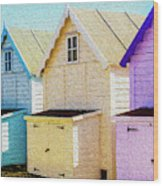 Mersea Island Beach Hut Oil Painting Look 6 Wood Print