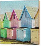 Mersea Island Beach Hut Oil Painting Look 7 Wood Print
