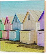 Mersea Island Beach Hut Oil Painting Look 9 Wood Print