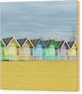 Mersea Island Beach Huts, Image 1 Wood Print
