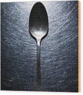 Metal Spoon On Stainless Steel Wood Print