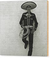 Mexican Cowboy Wearing Hat And Holding Wood Print