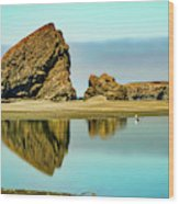 Meyers Beach Reflections - Oregon  Wood Print