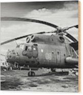 Mi-6 Helicopter Riga Latvia Black And White Wood Print