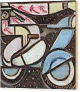 Miami Beach Man Riding A vespa in Outer Space Art Print Wood Print