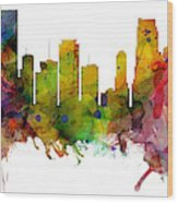 Miami Florida Skyline Panoramic Wood Print