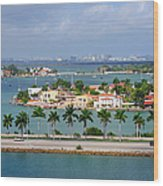 Miami Mac Arthur Causeway En Route To Wood Print