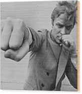 Michael Caine Throwing A Punch Wood Print
