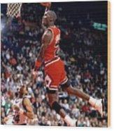 Michael Jordan Action Portrait Wood Print