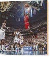 Michael Jordan Attempts A Dunk Wood Print