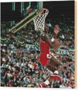Michael Jordan Competes In The Nba All Wood Print