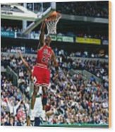 Michael Jordan Dunks The Ball Wood Print