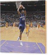 Michael Jordan Goes Up Wood Print